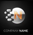 gold letter n logo silver dots splash vector image vector image