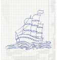 Hand drawing a sketch of a ship sailing on the vector image