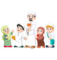 happy moslem kid showing with holding holy quran vector image vector image