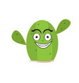 isolated happy cactus character vector image vector image