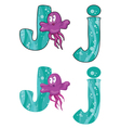 letter J jellyfish vector image