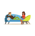 male patient character lying on the sofa and vector image vector image