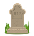 Old gravestone with cracks Grave on white vector image vector image