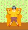 Old woman wearing virtual reality glasses at home vector image vector image