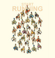 people start running top view graphic vector image