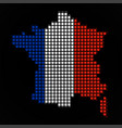 pixel map of france with the flag inside vector image