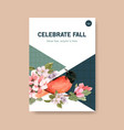 poster template with autumn forest and animals vector image vector image