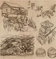 Rice crop Agriculture An hand drawn set vector image