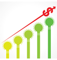 rising graph of dollar arrow and bars made of bulb vector image vector image