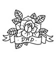rose tattoo with ribbon and word dad vector image vector image
