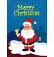 Santa Claus with golden bell on the roof vector image vector image