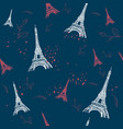 seamless paris pattern with eiffel tower and roses vector image vector image