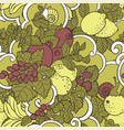 seamless pattern with abstract curls fruits and vector image vector image