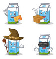 set of milk box character with envelope box witch vector image vector image