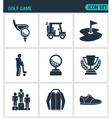 Set of modern icons Golf game car hole vector image