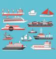 ships set passenger cruise ship yacht bulk vector image vector image