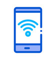 smartphone wi-fi connection icon outline vector image