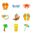 Sunburn icons set cartoon style vector image