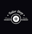 tailor shop sewing needle and button premium vector image vector image