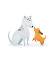two dogs animal pets puppies playing jumping vector image
