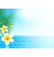 Calm sea and tropical flowers summer background vector image