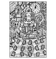 fortune teller with tarot cards engraved vector image