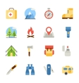 camping and hiking flat icons vector image