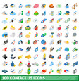 100 contact us icons set isometric 3d style vector image vector image