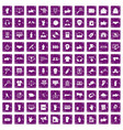 100 different gestures icons set grunge purple vector image vector image