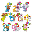 animals with numbers from 1 to 10 vector image vector image