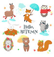 autumn animals icon set isolated vector image