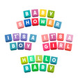 baby shower lettering on colorful toy bricks vector image vector image