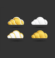 beautiful clouds icons golden and silver color vector image vector image