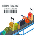 belt transporter with different airline baggage vector image