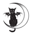 black cat with bat wings sitting on the crescent vector image vector image