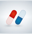 blue and red capsule painkillers antibiotics vector image
