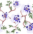 blue peony branch with leaves seamless pattern vector image