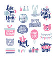 bundle of childish lettering handwritten with vector image