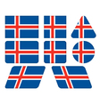 buttons with flag of Iceland vector image