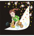child and bicycle vector image