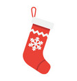 christmas stocking flat icon new year vector image