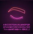 closed woman eye neon light icon vector image vector image