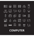 computer editable line icons set on black vector image vector image