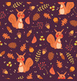 cute squirrels in forest seamless pattern vector image vector image
