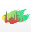 elegant eid festival greeting with mosque and ink vector image vector image