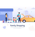 family shopping cart with bags goods near car vector image vector image