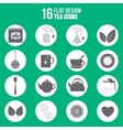 Flat design tea icons set vector image vector image
