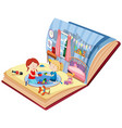 girls playing in bedroom on the book vector image