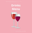 glass wine poster with two glasses wine vector image vector image