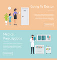 going to doctor posters set vector image vector image